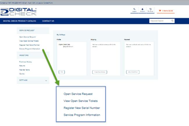 service portal menu