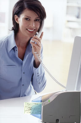 Remote deposit scanner at desk with woman