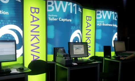 The FIS Bankway exhibit features Digital Check's TellerScan TS240/TTP teller capture scanner