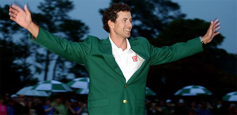 Adam Scott with the traditional green jacket after winning the 2013 Masters