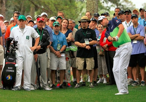 Day 1 Masters leader Marc Leishman takes a shot from the first fairway at Augusta National on Thursday