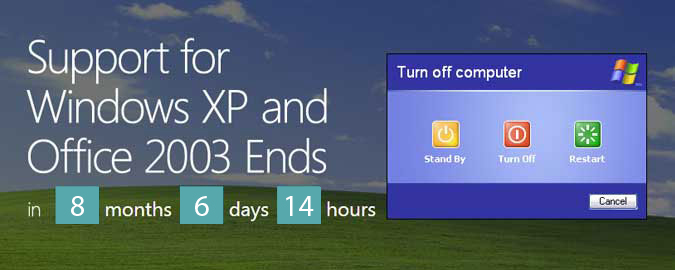 Windows XP support ends April 8, 2014