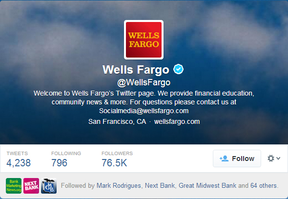 Wells Fargo Twitter followers