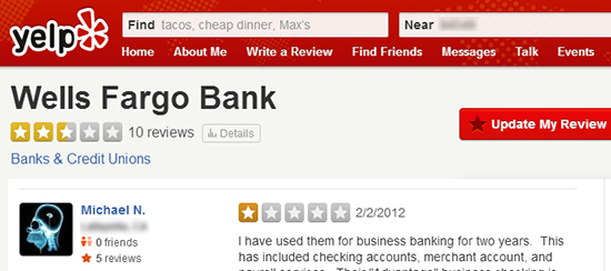 Wells Fargo Yelp comments
