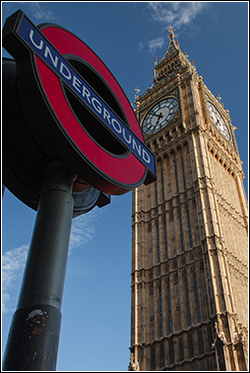 Cheque Clearing in the UK - Big Ben with Underground sign