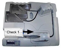 Check feeding through scanner track