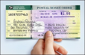 Money order with difficult background