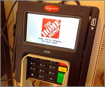 Home Depot credit card reader