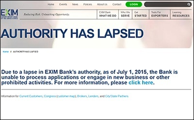 ExIm Bank website notice