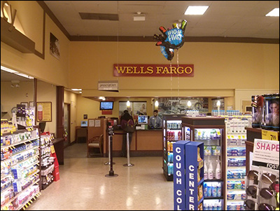 Grocery store bank branch