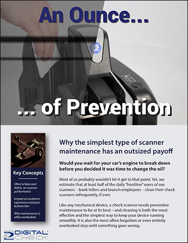 Check Scanner Cleaning paper cover