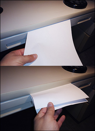 Folded paper in drawer example