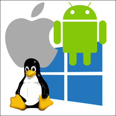 Windows Mac OS Android Linux logos