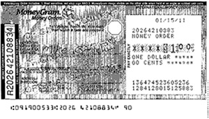 Money order image survivable feature example
