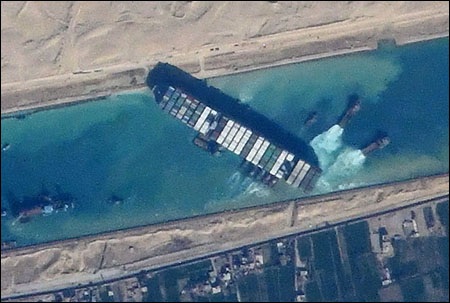 Ever Given Suez Canal photo from ISS